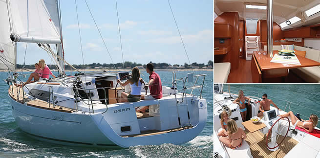 Beneteau Oceanis 37 sailing images with interior