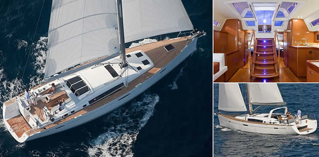 Beneteau Océanis 58 sailing images with interior