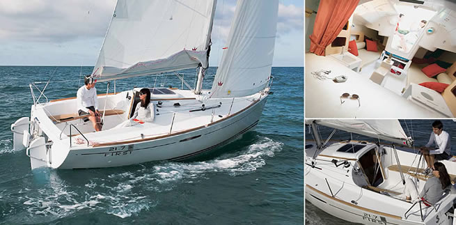 Beneteau First 21.7 S sailing images with interior