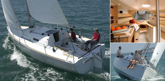 Beneteau First 27.7 S sailing images with interior